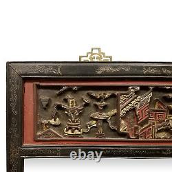 Fin 19ème C. Chinois Carved Gilt Wood And Lacquer Mirror