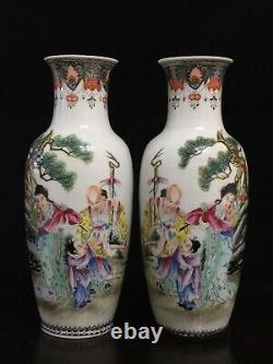 Paire De 19 Fin C. Porcelaine Chinoise Famille Rose Vase Coquille D'oeuf 9-1 / 8 Grand