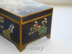 Superb Antique Taux 19th Century Chinese Cloisonne Lidded Box Hardwood Lined